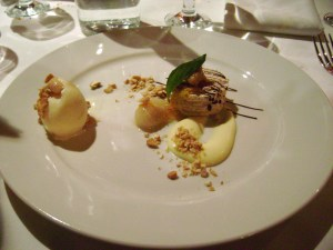 Cashew Praline and Merigue Torte, Mangosteen, Coconut Caramel Ice Cream