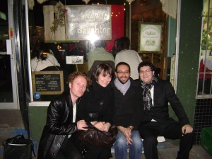 Outside the Communist's Daughter with Laura, Philippe and Mark.