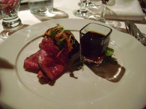 Seared Itoham Kobe Beef Striploin, Braised Cheeks, Ginger and Kaffir Lime Consomme
